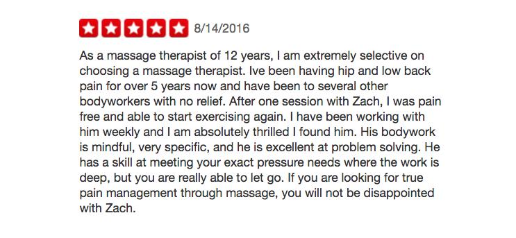 Yelp massage review
