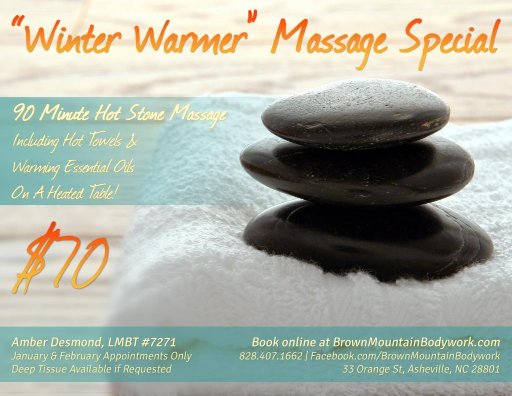 """Winter Warmer"" Hot Stone Massage Special - Asheville, NC"